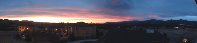 This is the panorama view outside from our porch that was waiting for us after our early morning workout.  WHAT?!  We are so stinkin' blessed.