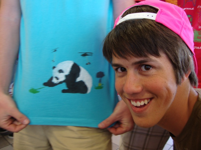 Our friend Nate DREW this panda (love them) on his shirt.