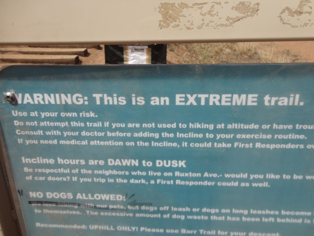 "We didn't read this sign, aside from ""This is an EXTREME trail"" until afterwards, which is a real pity."